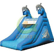 giant inflatable dolphin slide