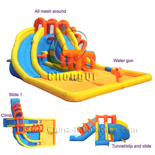 Inflatable Water Slide China: Inflatable Double Splash Water Slide No.:CQWS166 For Sale